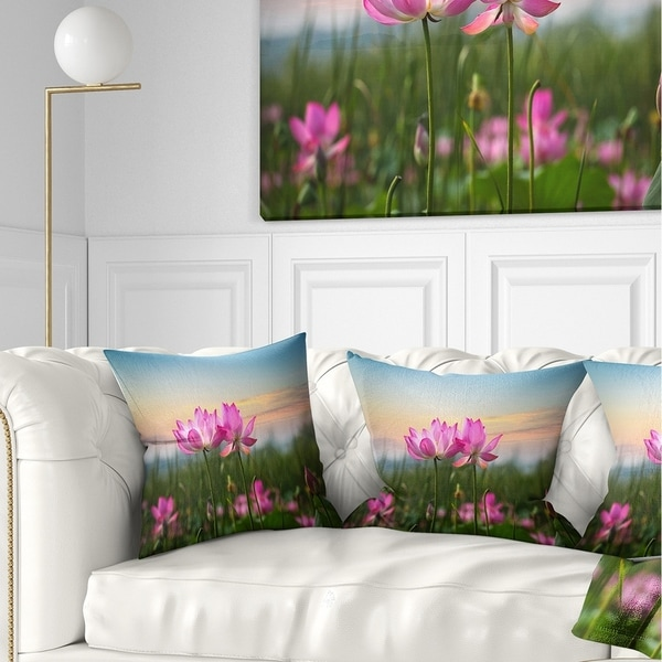Designart 'Blooming Lotus Flowers at Sunset' Floral Photo Throw Pillow