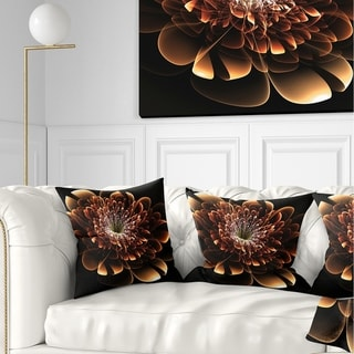 Designart 'Brown Fractal Flower' Modern Floral Throw Pillow