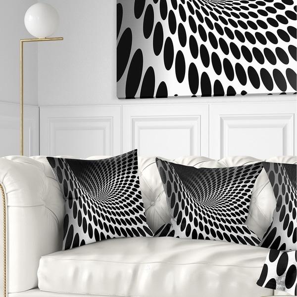 Designart 'Waves and Circles Black n' White' Contemporary Throw Pillow