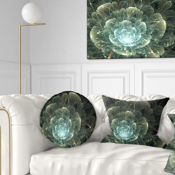 Designart 'Fractal Flower Blue and Gray' Floral Throw Pillow