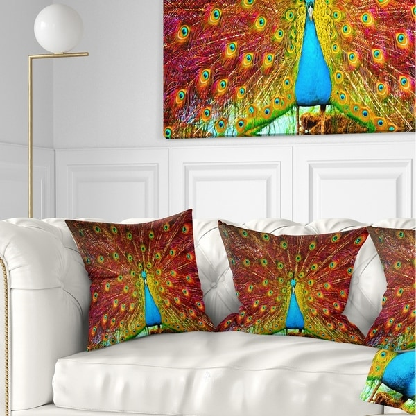 Designart 'Peacock Dancing' Animal Throw Pillow