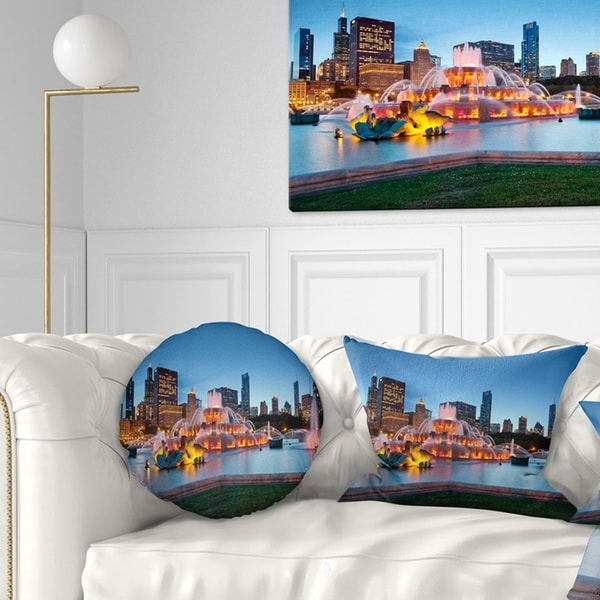 Designart 'Colorful Buckingham Fountain' Cityscape Throw Pillow