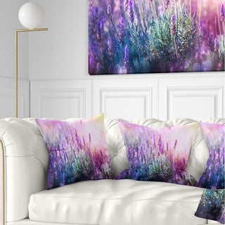 Designart 'Growing and Blooming Lavender' Floral Throw Pillow
