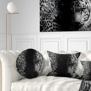Designart 'Leopard and Tiger in Black' Animal Throw Pillow
