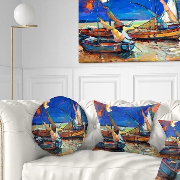 Designart 'Fishing Boats Under Blue Sky' Seascape Throw Pillow