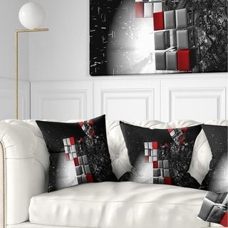 Designart 'Fractal 3D Red White Cubes' Contemporary Throw Pillow