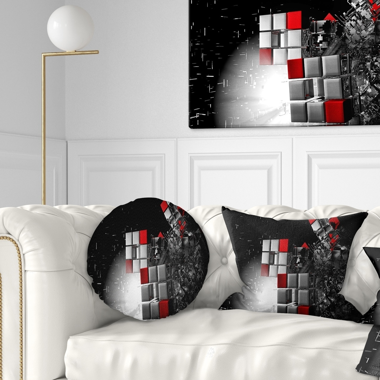 Designart Fractal 3d Red White Cubes Contemporary Throw Pillow On Sale Overstock 20890366