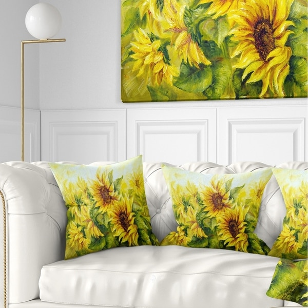 Designart 'Bright Yellow Sunny Sunflowers' Floral Painting Throw Pillow