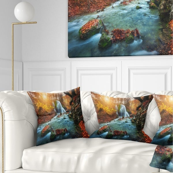 Designart 'Fast Flowing Fall River in Forest' Landscape Photography Throw Pillow