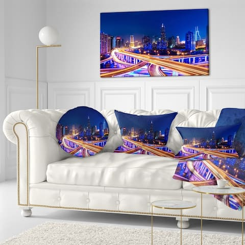 Designart 'Interchange Overpass at Night Skyline' Cityscape Throw Pillow