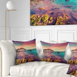 Designart 'Giallonardo Beach Colorful Sunset' Seashore Photo Throw Pillow