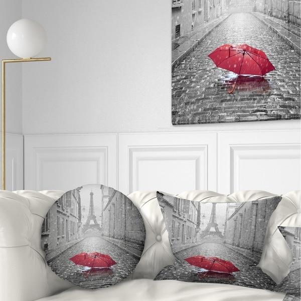 Designart 'Eiffel View from Paris Street' Cityscape Photo Throw Pillow. Opens flyout.