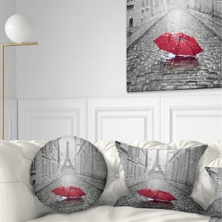 Designart 'Eiffel View from Paris Street' Cityscape Photo Throw Pillow