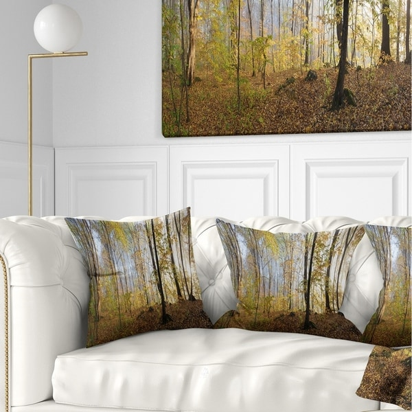 Designart 'Green Autumn Forest in Morning' Landscape Photography Throw Pillow