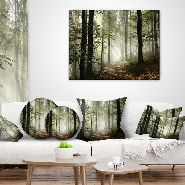 Designart Light In Dense Fall Forest With Fog Landscape Printed Throw Pillow On Sale Overstock 20890389