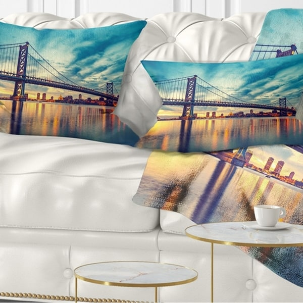 Designart 'Ben Franklin Bridge in Philadelphia' Cityscape Throw Pillow