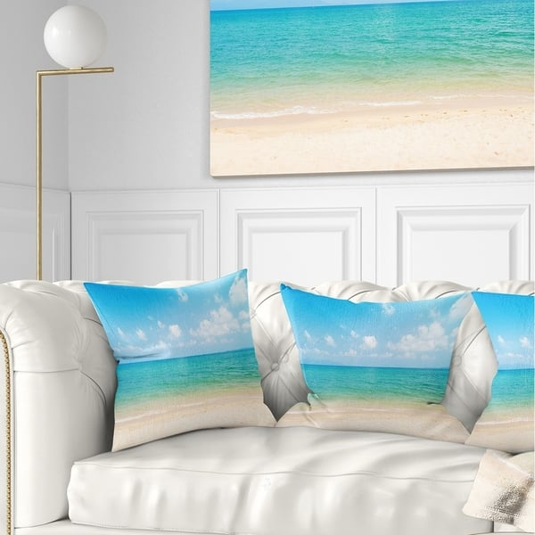 Designart Wide View Of Tropical Beach Seashore Photo Throw Pillow On Sale Overstock 20890394