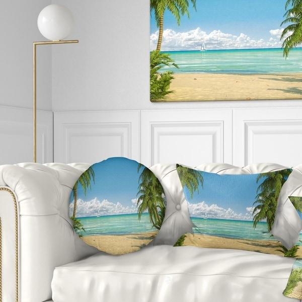 Designart 'Palms at Caribbean Beach' Seashore Photo Throw Pillow