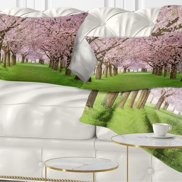 Designart 'Stunning Cherry Blossoms Plenitude' Landscape Printed Throw Pillow