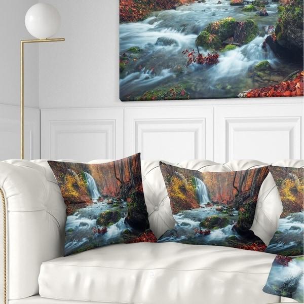 Designart 'Autumn Mountain Waterfall Long View' Landscape Photography Throw Pillow