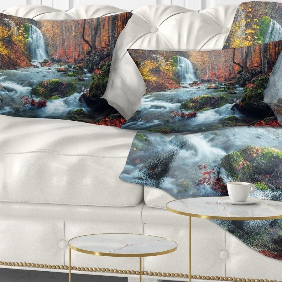 Designart Autumn Mountain Waterfall Long View Landscape Photography Throw Pillow On Sale Overstock 20890411