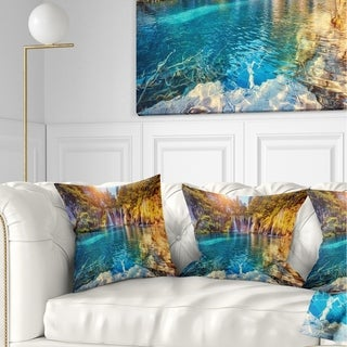 Designart 'Turquoise Water and Sunny Beams' Landscape Photography Throw Pillow