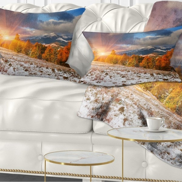 Designart 'First Snow in Carpathian Mountains' Landscape Photography Throw Pillow