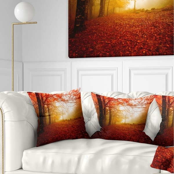 Designart 'Yellow Sun Rays in Red Forest' Landscape Photography Throw Pillow