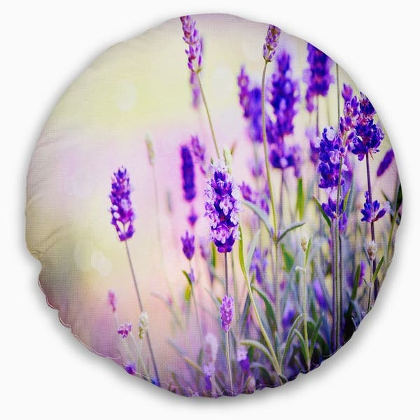 Designart Purple Lavender Field Floral Photography Throw Pillow Overstock 20890424