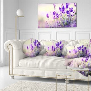 Designart 'Purple Lavender Field' Floral Photography Throw Pillow