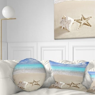 Designart 'Caribbean Beach Starfish' Beach Photography Throw Pillow