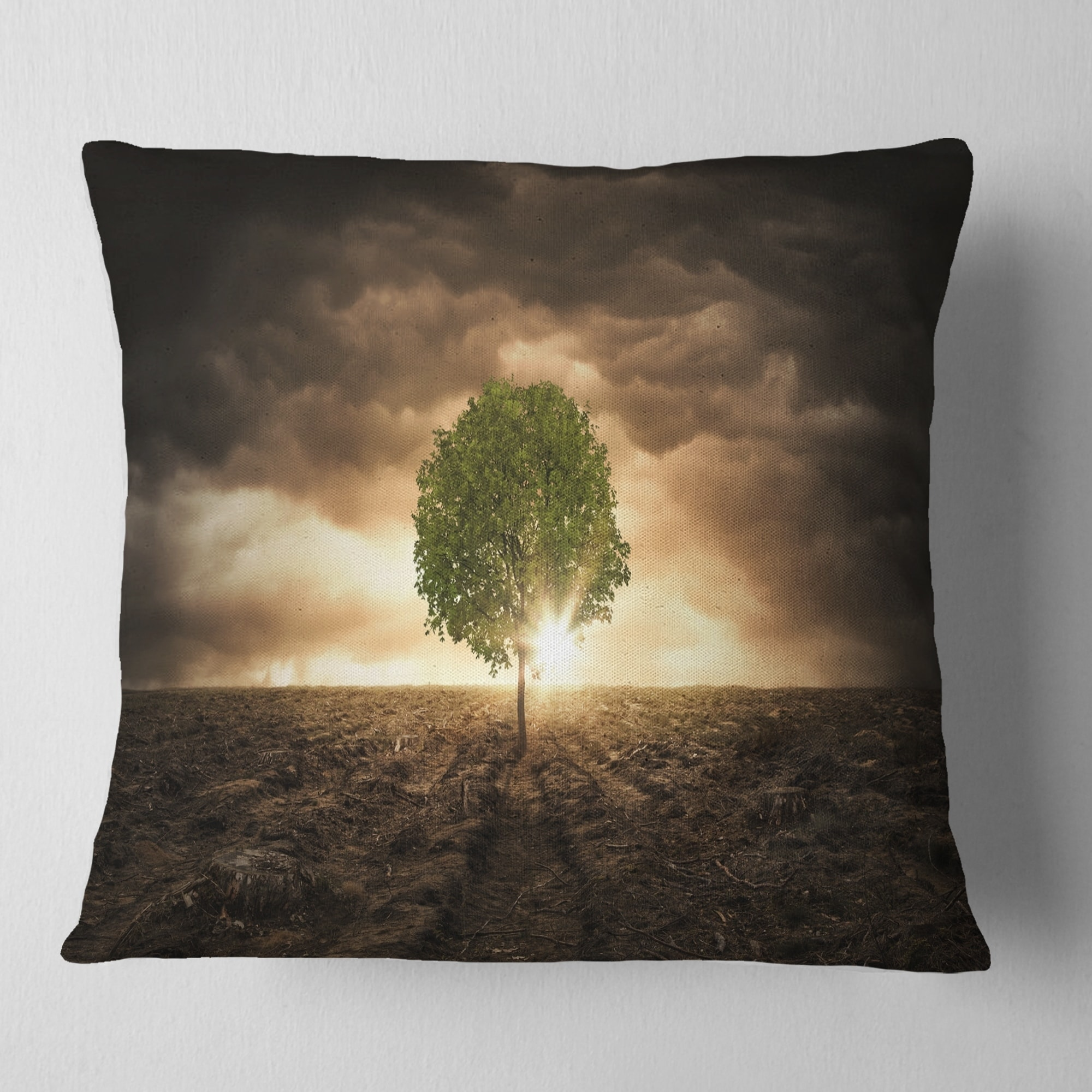 Designart Lonely Tree Under Dramatic Sky Landscape Printed Throw Pillow On Sale Overstock 20890435