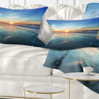 Designart 'Blue Seashore with Distant Sunset' Seascape Throw Pillow