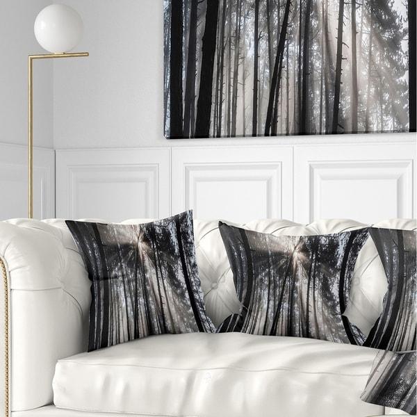Designart 'Sunbeams through Black White Forest' Forest Throw Pillow