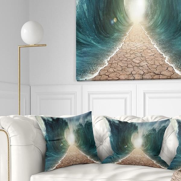 Designart 'Pathway through the Parted Seas' Seashore Throw Pillow