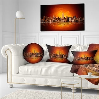 Designart 'New York City Panorama in Red Light' Cityscape Throw Pillow