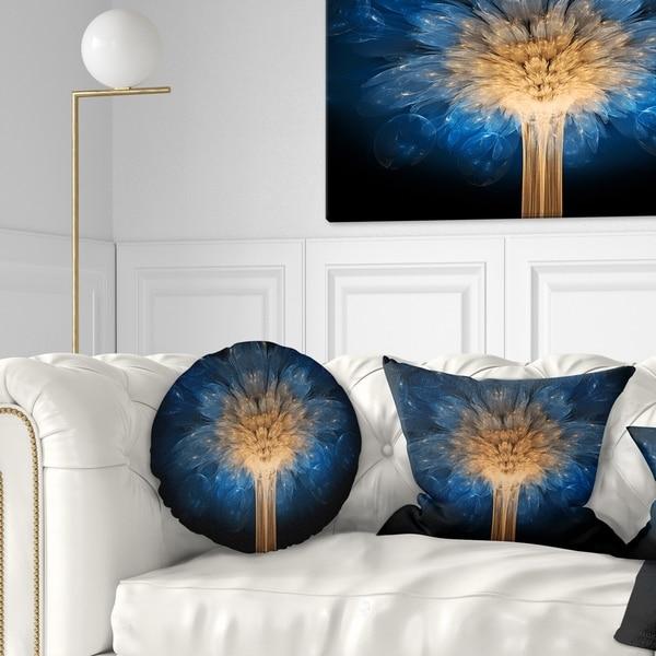 Designart 'Fractal 3D Blue Dragon Flower' Contemporary Throw Pillow