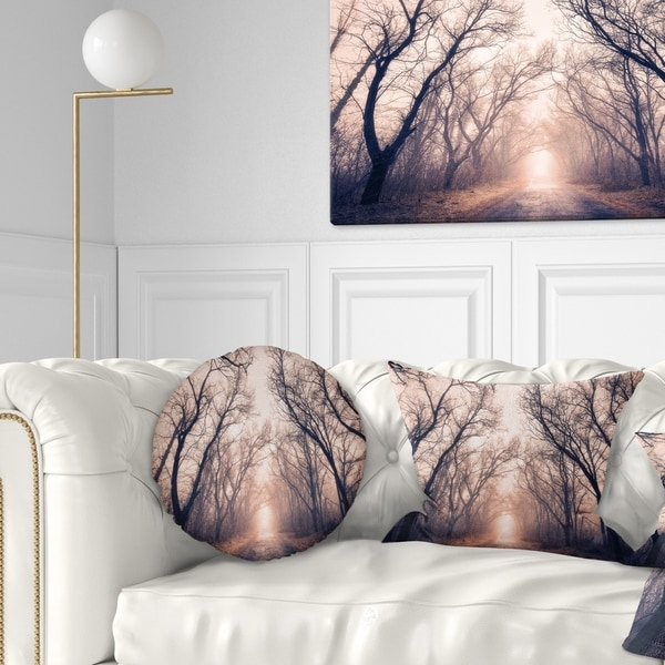 Designart 'Road Through Mystical Dark Forest' Landscape Photography Throw Pillow
