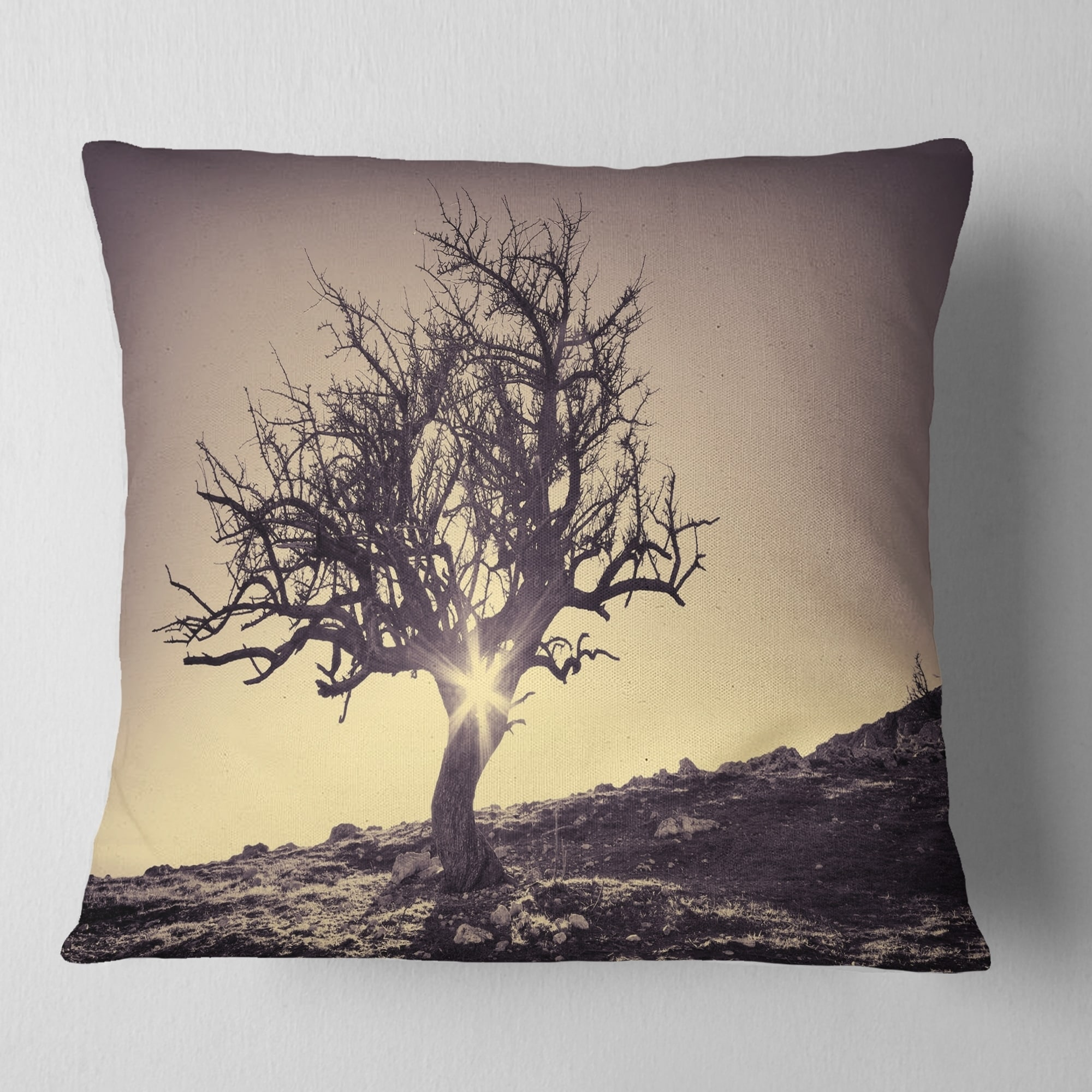 Designart Lonely Grey Tree In Mountain Landscape Printed Throw Pillow On Sale Overstock 20890476