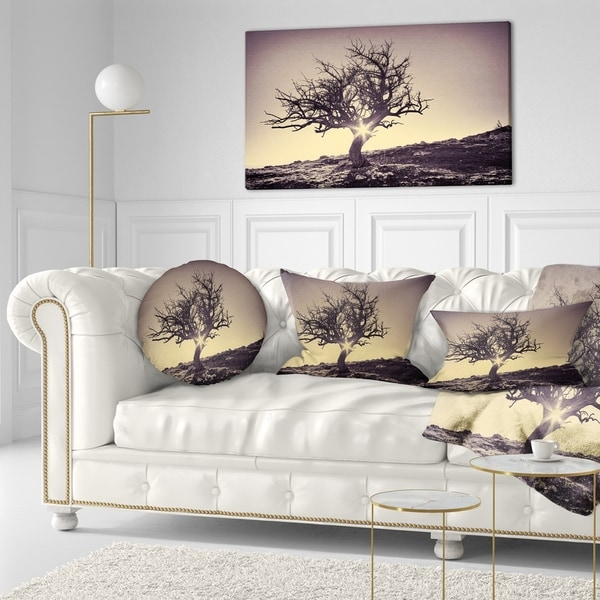 Designart 'Lonely Grey Tree in Mountain' Landscape Printed Throw Pillow