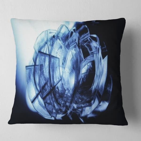 Designart Fractal 3d Blue Glass Pattern Contemporary Throw Pillow On Sale Overstock 20890477