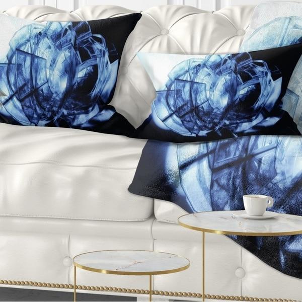 Designart 'Fractal 3D Blue Glass Pattern' Contemporary Throw Pillow
