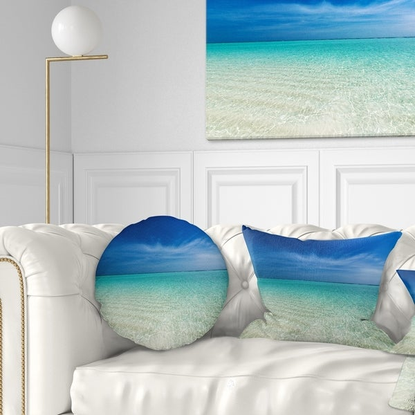 Designart 'Turquoise Ocean Under Blue Sky' Modern Seascape Throw Pillow