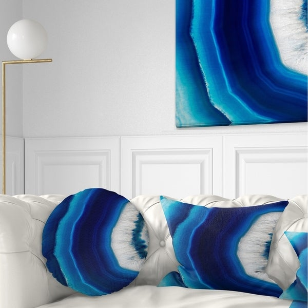 Designart 'Blue Agate Crystal' Abstract Throw Pillow