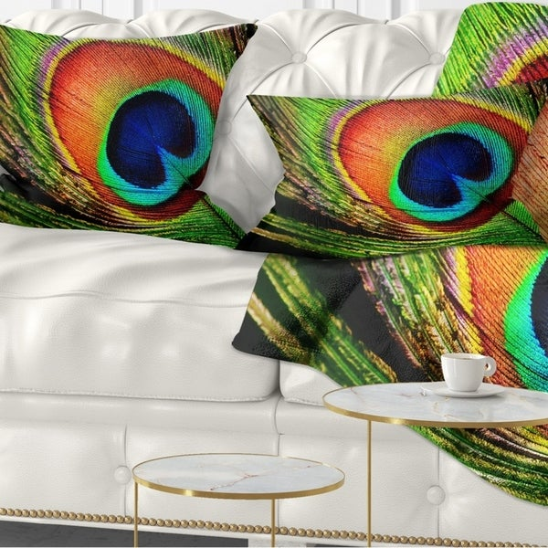Designart 'Peacock Feather' Photography Throw Pillow