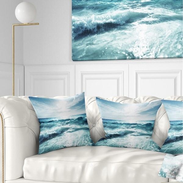 Designart 'Seychelles Beach at Sunset' Seascape Throw Pillow