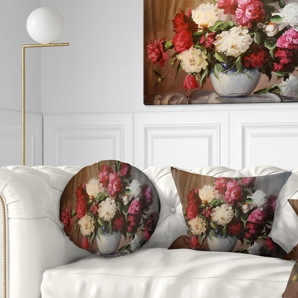 Designart 'Bouquet of Blooming Peonies' Floral Throw Pillow