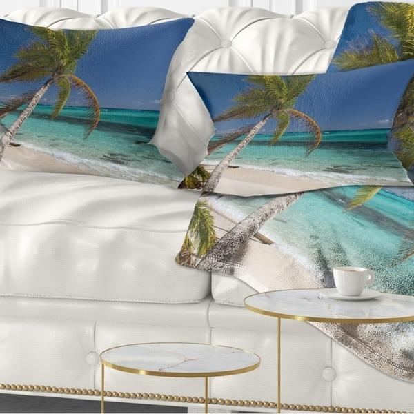 Designart 'Palm Bent to Picturesque Seashore' Modern Seascape Throw Pillow