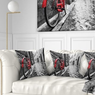 Designart 'Retro Vintage Red Bike' Cityscape Photo Throw Pillow (More options available)