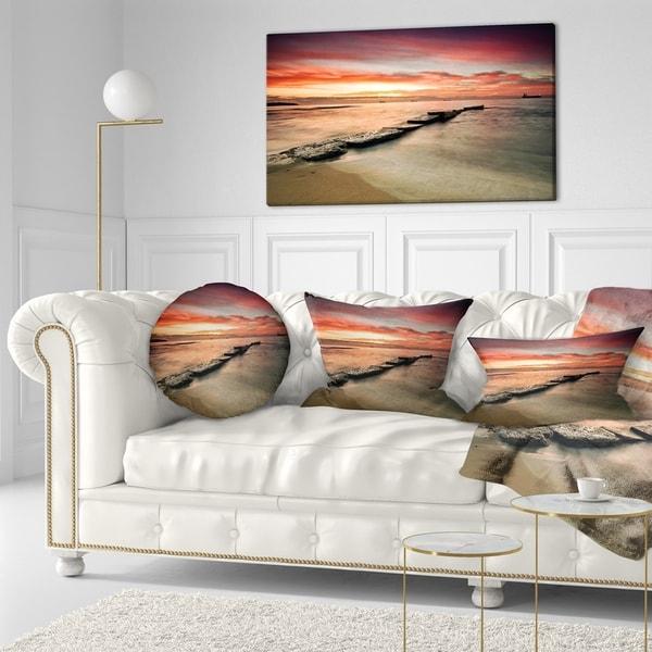 Designart 'Wonderful Sunrise on Black Ocean' Beach Photo Throw Pillow